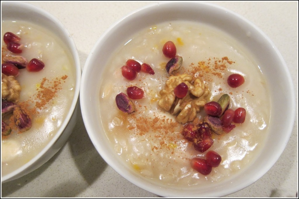 Aşure or Noah's Pudding Aşure or Noah's Pudding a special pudding to celebrate Noah landing his Ark safely. The pudding has nuts, grains, seeds in it.