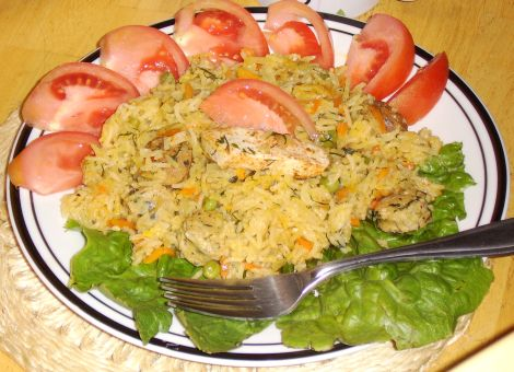 Fish Paella w/ Brown Rice and Romaine Lettuce and Tomatoes