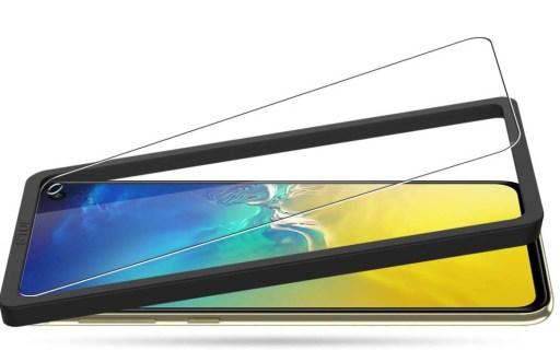 Samsung S10e Schutzfolie aus Panzerglas mit Installationsrahmen