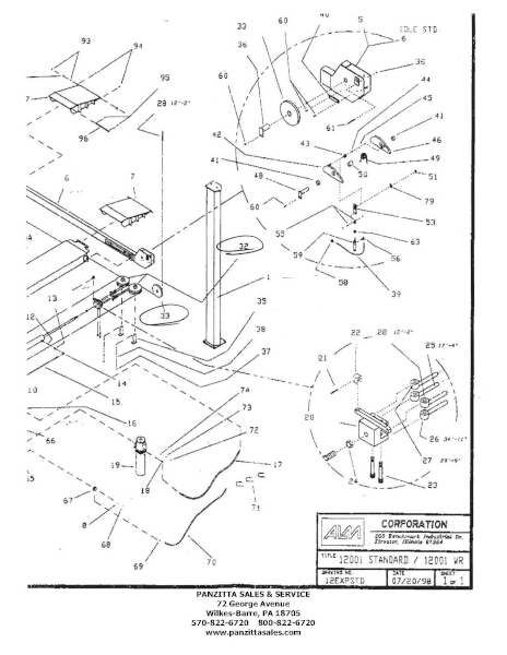ALM 12001 Four Post Lift Parts