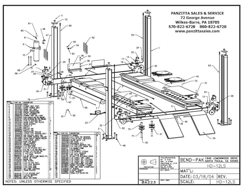 BendPak HD-12LS Parts