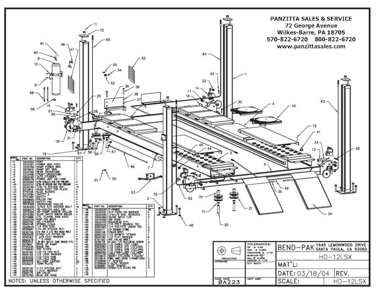 BendPak HD-12LSX Parts