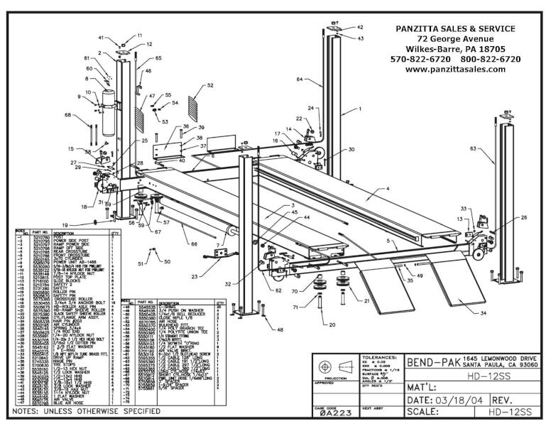 BendPak HD-12SS Parts