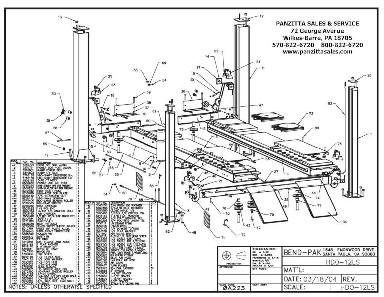 BendPak HDO-12LS Parts