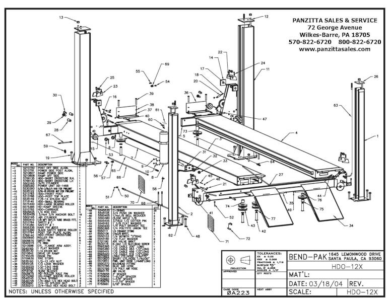 BendPak HDO-12X Parts