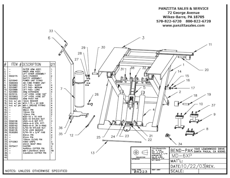BendPak MD-6XP Parts