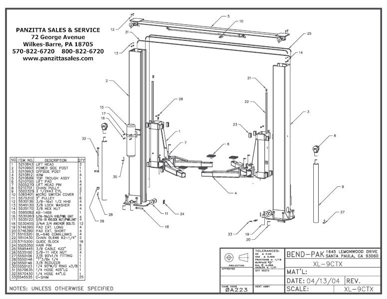 BendPak XL-9CTX Parts