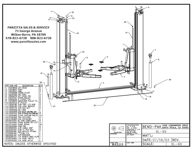 BendPak XL-9X Parts