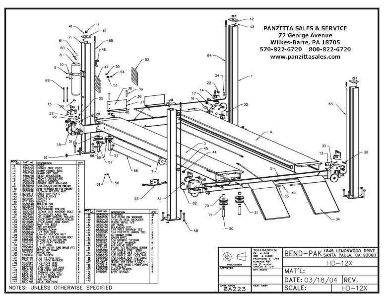 BendPak HD-12X Lift Parts