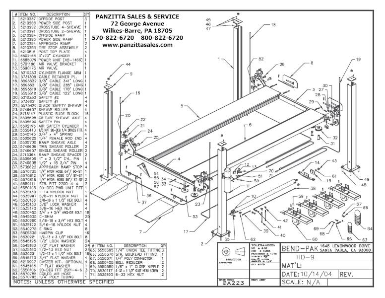 BendPak HD-9 Lift Parts