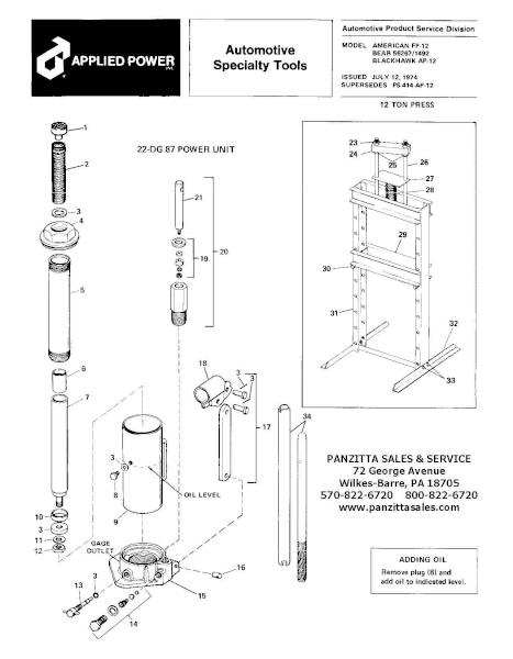 Bear 56267 or 1492 12-Ton Press Parts