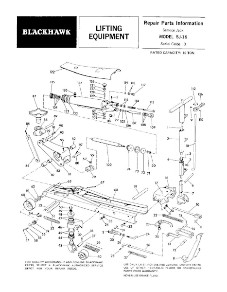Black Hawk SJ-16 Parts