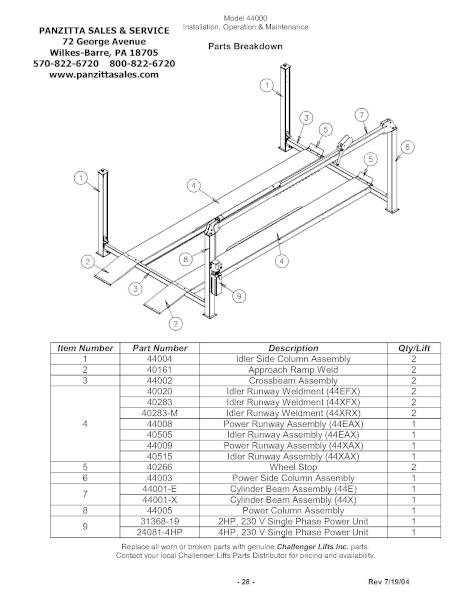 Challenger 44000 Lube Rack Parts