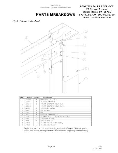 Challenger CL10 Lift Parts