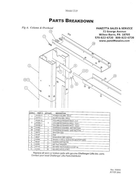 Challenger CL9 Lift Parts