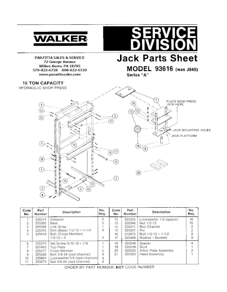 Lincoln Walker 93616 Series A Parts