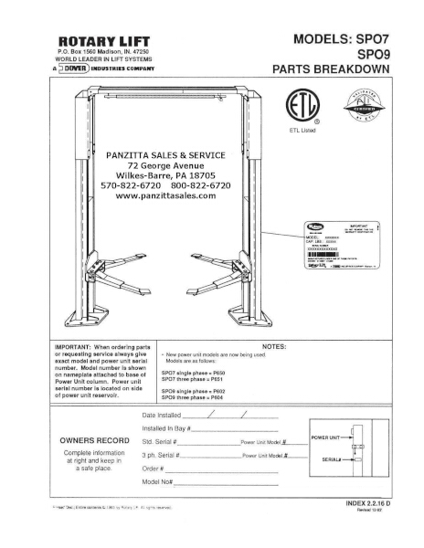 Rotary SPO7, SPO9 PRE 100 Series Parts