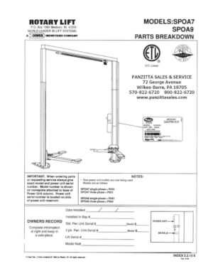 Rotary Lift Parts and Breakdowns– Page 5 of 5