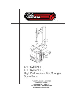 Snap-on / John Bean Tire Changer Parts and Breakdowns