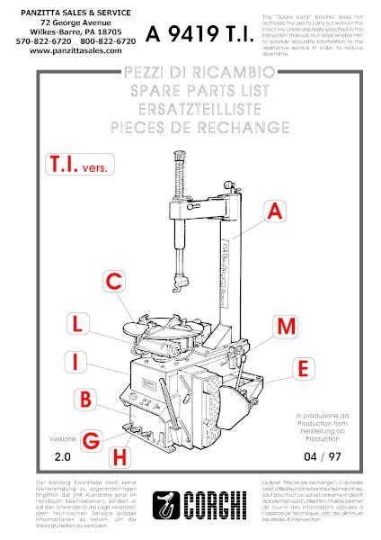 Corghi A 9419 T.I. Parts