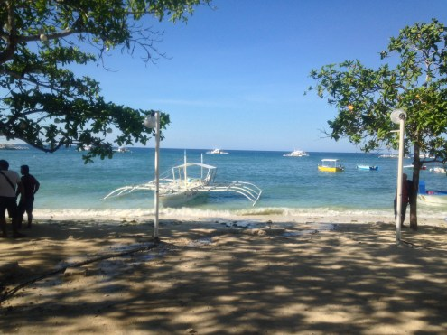 Boats for hire at Alona Beach