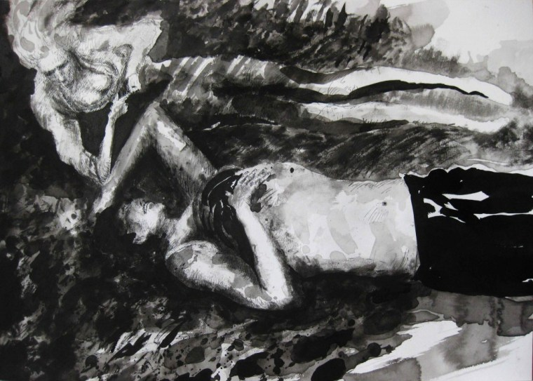 Paolo Boosten indian ink drawing with man and girl sleeping in nature.