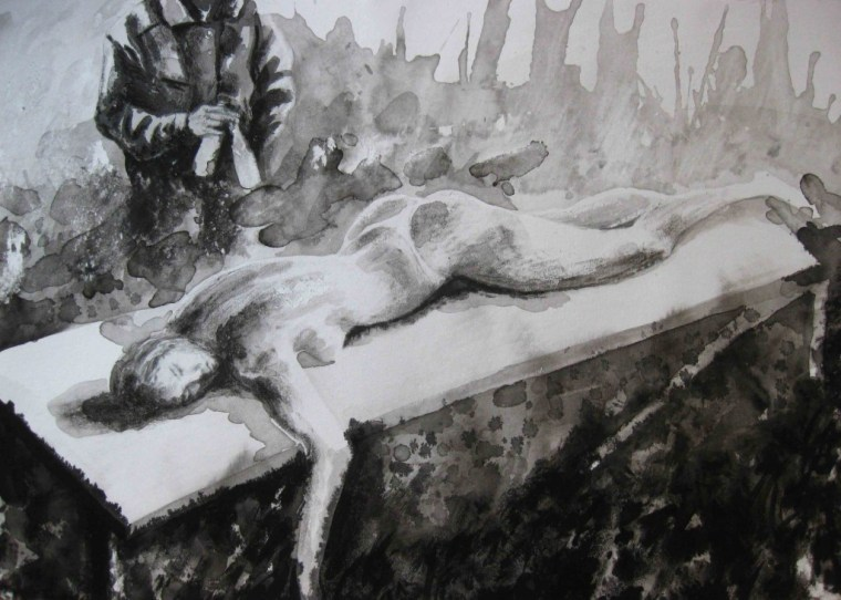 Paolo Boosten indian ink drawing with naked sleeping girl.