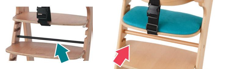 カトージ ベビーチェア ファニカ 金属ではなくブナ材の棒を使用
