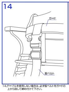 プレミアムベビーチェア mamy 取扱説明書より ベルトをガードに取り付けているところ