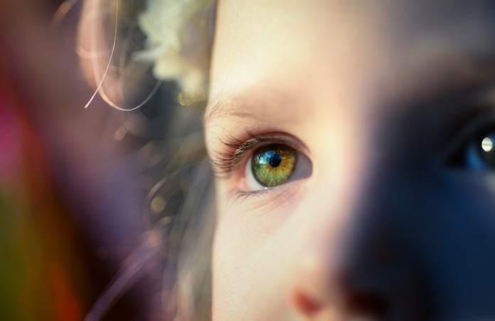 un regard d'enfant est une porte sur le sens de la vie. Un oeil vert, bleu et des cheveux blonds. La routine parentale