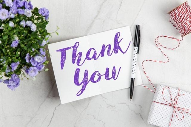 merci thank you remerciement patients thérapie psychologie fleurs carton stylo feutre violet purple pen flowers gift present