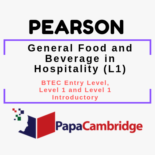General Food and Beverage in Hospitality (L1) BTEC Entry Level, Level 1 and Level 1 Introductory PPT Slides