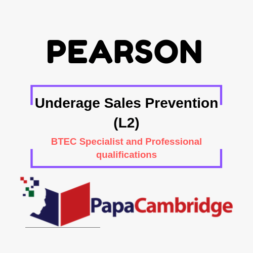 Underage Sales Prevention (L2) BTEC Specialist and Professional qualifications Past Papers