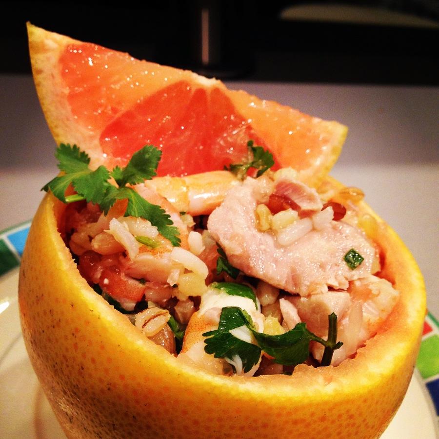 Pamplemousse et fruits de mer