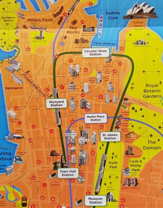 シドニー都心部路線図
