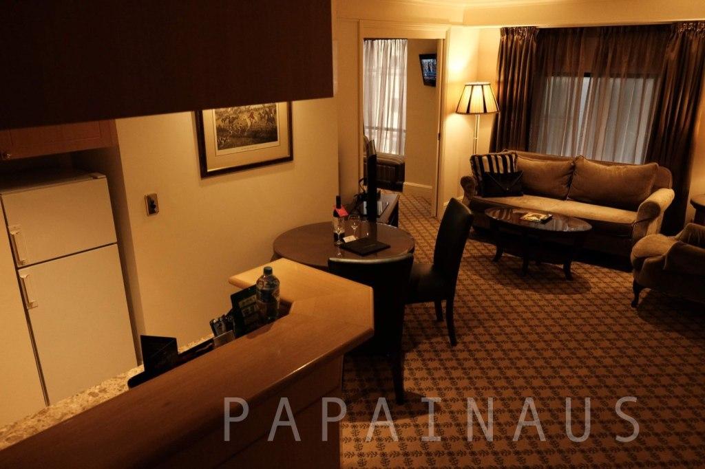 スタンフォードプラザホテル:1ベッドルームでこの広さ。奥にベッドとバスルーム。