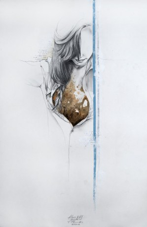 'Atlas XVII (Breathe in)', Pencil, ink and acrylic on paper, 57,5cm.X38cm., 2012