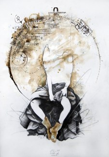 'Atlas XIII', Pencil, ink and acrylic on paper, 60cm.X42cm., 2011