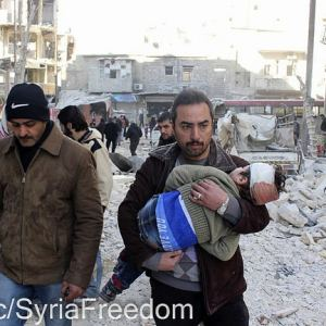 After the attack of ASSad death barrels on Aleppo, Syria