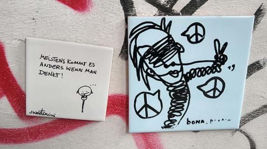 Borderlinerin und Kunst an der Wand