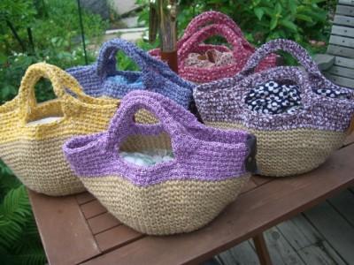 麻×裂き編みバッグ
