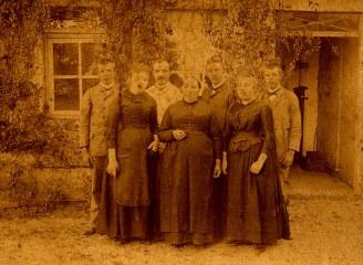 "A ""La Vierge"" # 1890. Maurice (16), Raoul (12), Valentin (11), Gaston (17), Marie (14), Olympe (x 1), Charlotte (15)"