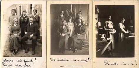 """22 septembre 1918 Carte 1 : Famille Gaston LANDRIEU (17) - Debout : Denis (173) - Lucie (421) - Florence (172), Assis : Hélène DUFOURNY-LANDRIEU (x 17) Carte 2 : Famille Gaston LANDRIEU (17) - Debout : Joseph (441) - Andrée (174) - Florence (172), Assis: Marie (14) - Hélène DUFOURNY-LANDRIEU (x 17) Carte 3 : Henriette WARIN et Marie BOULAND, les deux fidèles employées, dans l'arrière cuisine de """"La Vierge"""""""
