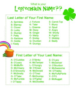 What is your leprechaun name | Paparazzi party games