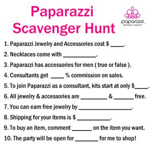 Paparazzi Scavenger hunt| Paparazzi game