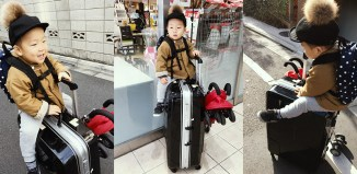 スーツケース、ベビーカー、こども