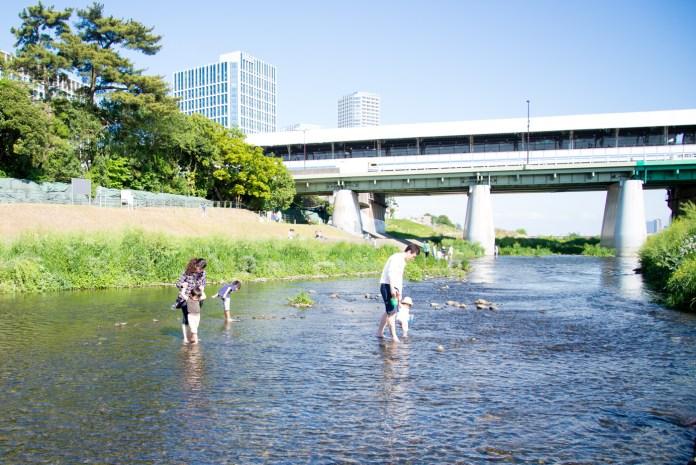 川遊びする子供達 - 二子玉川駅から多摩川駅への道順