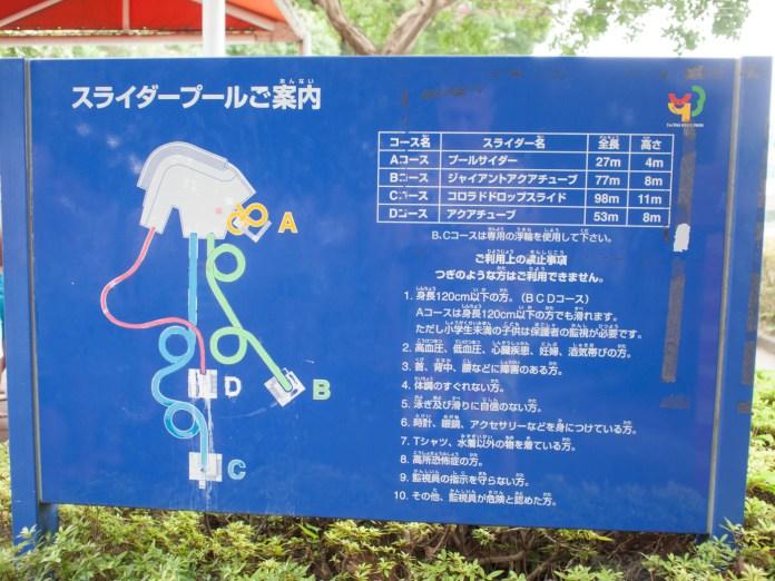 スライダーの注意事項(昭和記念公園レインボープール)