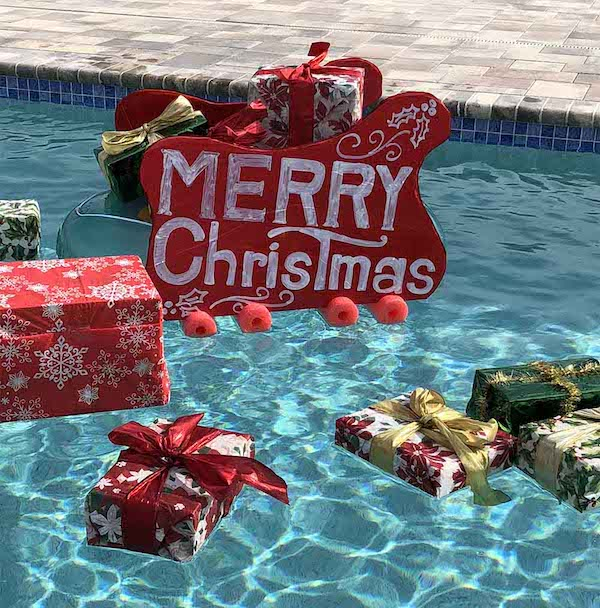 Santas Sleigh In Your Swimming Pool