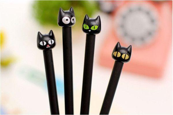 Bolígrafos gatos negros punta fina